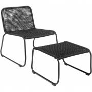 Bloomingville - Mundo Lounge Chair w/Footrest Black Metal