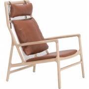 Gazzda - Dedo Lounge Sessel Dakar Leder Whisky / Eiche Weiß geölt