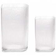HKliving - Effacer nervuré Set Vases de 2