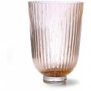 HKliving - Vase en verre nervuré Peach
