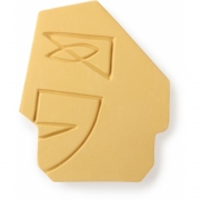 HKliving - Face Wall Ornament S Matt Mustard Yellow