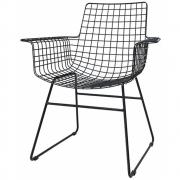 HKliving - Metalldraht Wire Stuhl mit Armlehnen Schwarz