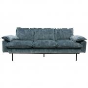 HKliving - Retro Sofa 3-Sitzer Vintage Samt, Petrol Blau