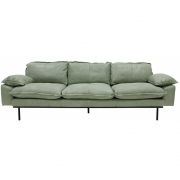 HKliving - Retro Sofa: 4 Sitze, Leder, Mint Green