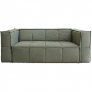 HKliving - Cube Couch: 3 Sitze, Leinwand, Armee Grün