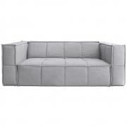 HKliving - Cube Couch: 3 Sitze, Leinwand, Hellgrau