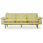HKliving - Retro Sofa: 3 Sitze Striped Gelb / Nude