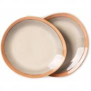 HKliving - Ceramic 70's Side Plates, Earth, Set Of 2
