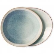 HKliving - Ceramic 70's Teller, Mist, Ø 22 cm, 2er Set