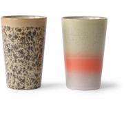 HKliving - Ceramic 70's Tea Mugs Set Of 2