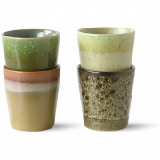 HKliving - Ceramic 70's Coffee Mugs, Spring Greens, Set Of 4