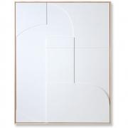 HKliving - Relief Kunstplatte Gerahmt Weiß A Extra Groß Dekoration