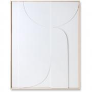 HKliving - Relief Kunstplatte Gerahmt Weiß B Extra Groß Dekoration