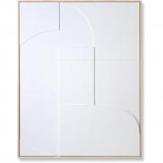 HKliving - Relief Kunstplatte Gerahmt Weiß A Medium Dekoration