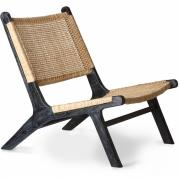 HKliving - Geflecht Lounge Sessel Schwarz Natur