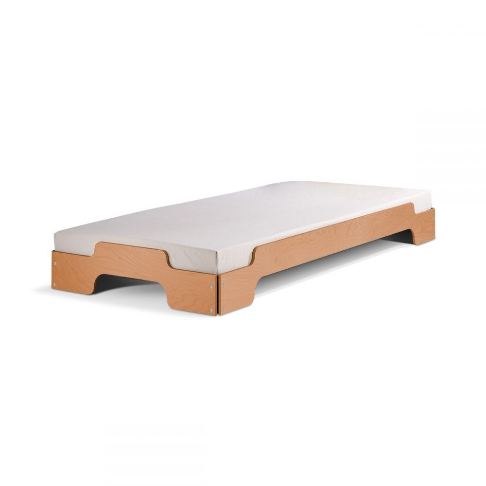 Stacking Bed Set with Slatted Frame Solid Wood | nunido.